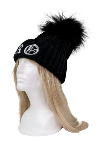 ROYAL ORDER BLACK KNIT BEANIE w/ RACCOON FUR POMPOM AND LOGO EMBROIDERED