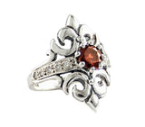 MARGUERITE RING w/ GARNET & DIAMOND BAND