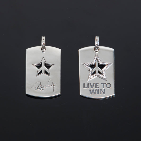 PSSPo2-PCZ LIVE TOWIN Dog Tag with pave CZ star