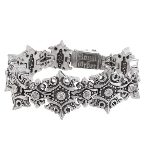 SMALL KING CROWN TRELLIS BRACELET w/ CZs