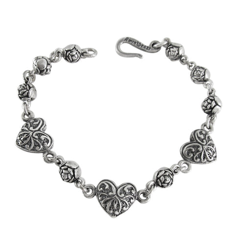 ROSEBEAD BRACELET w/ 3 CARVED HEARTS