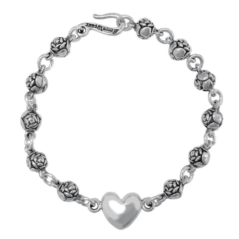 ROSEBEAD BRACELET w/ 1 SMOOTH HEART