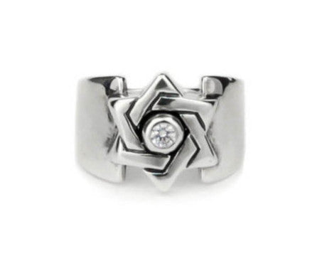 STAR OF DAVID IN WIDE BAND RING w/ DIAMOND