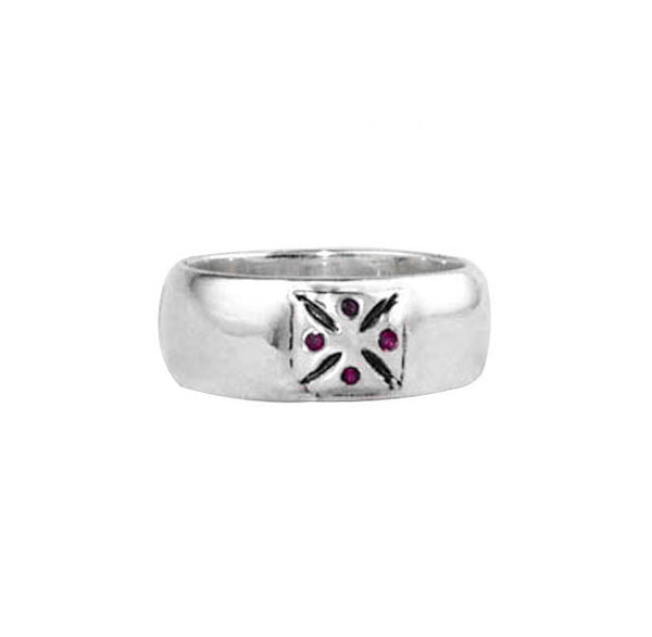 SR01-2RS Plain Wide Band with Cross and Pave Rubies or Sapphires