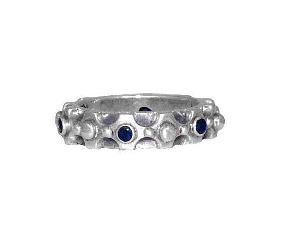 DUKE STACK BAND RING w/ RUBIES OR SAPPHIRES