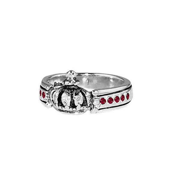 CROWN TRIPLE BAND RING w/ DIAMOND & RUBIES OR SAPPHIRES