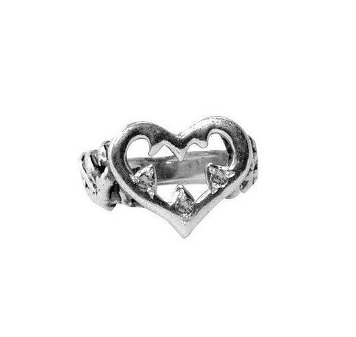 AURORA HEART RING w/ BLACK OR WHITE DIAMONDS