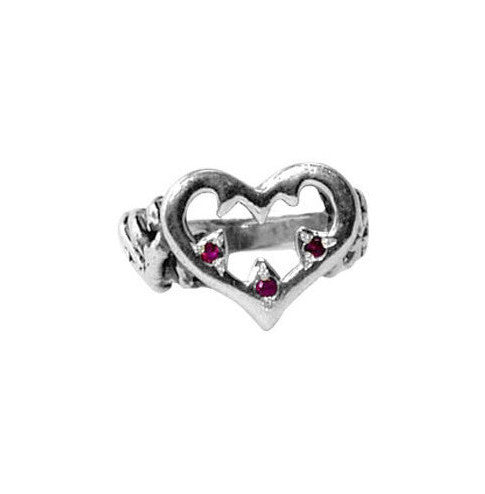 AURORA HEART RING w/ RUBIES OR SAPPHIRES