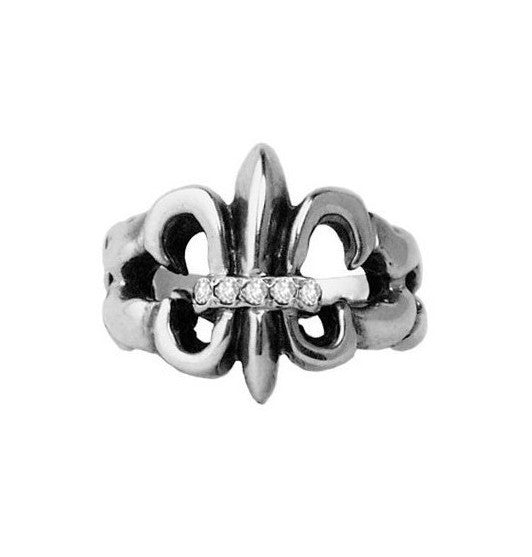 TWISTED FLEUR DE LIS RING w/ 5 DIAMONDS