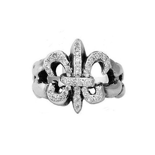 TWISTED FLEUR DE LIS RING w/ PAVÉ DIAMONDS