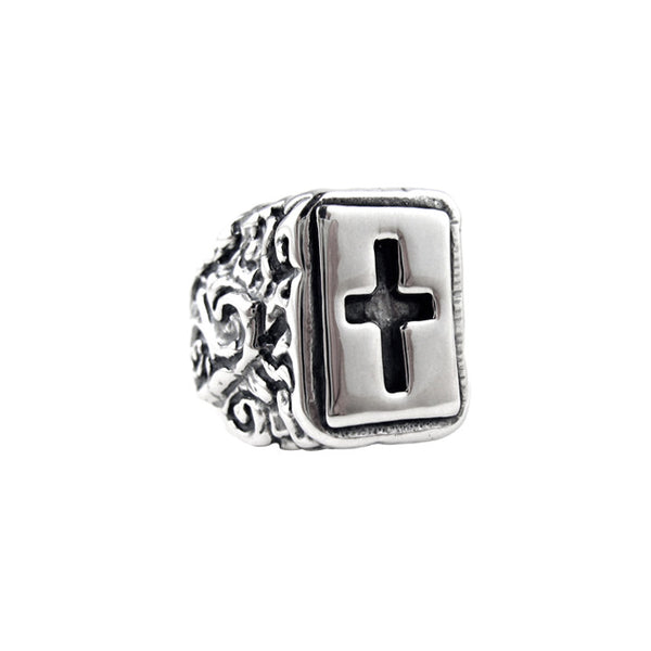 SWIRL ALL SILVER RING w/ CROSS