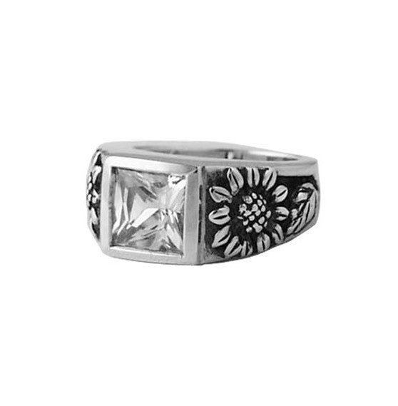 SUNFLOWERS RING w/ CZ