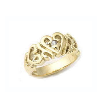 HEART BAND RING w/ DIAMOND