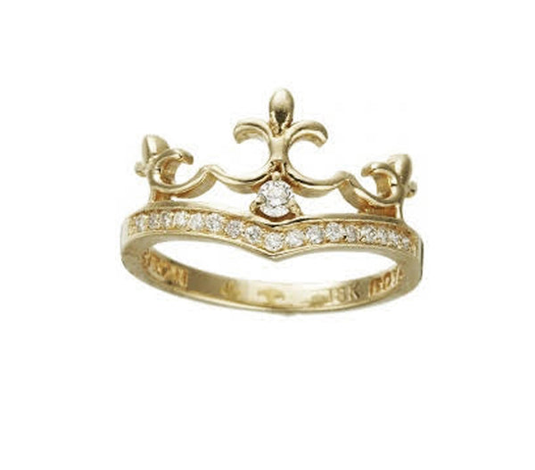 9K DELICATE TIARA RING w/ 1 CENTER DIAMOND & PAVÉ DIAMONDS.