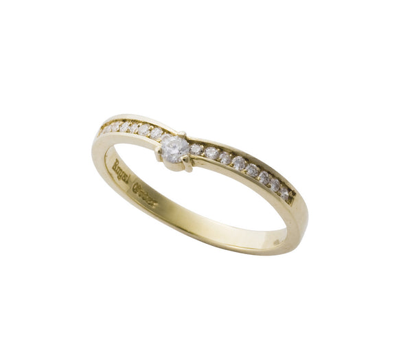 DELICATE TIARA BAND RING w/ CENTER DIAMOND & PAVÉ DIAMOND BAND