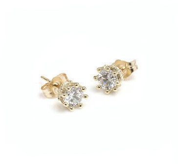 TINY CROWN STONE STUD EARRINGS w/ CZ