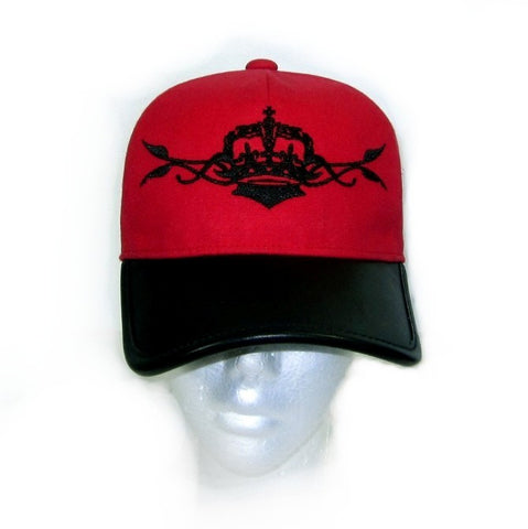 ROYAL ORDER RED BASEBALL CAP AND LEATHER BRIM w/ LARGE CROWN & VINE