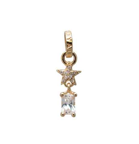 STARSHINE PENDANT w/ CZ DROP & JUMPRING w/ PAVÉ DIAMOND ON STAR