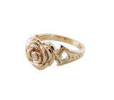 SMALL HEART ROSE RING w/ DIAMOND