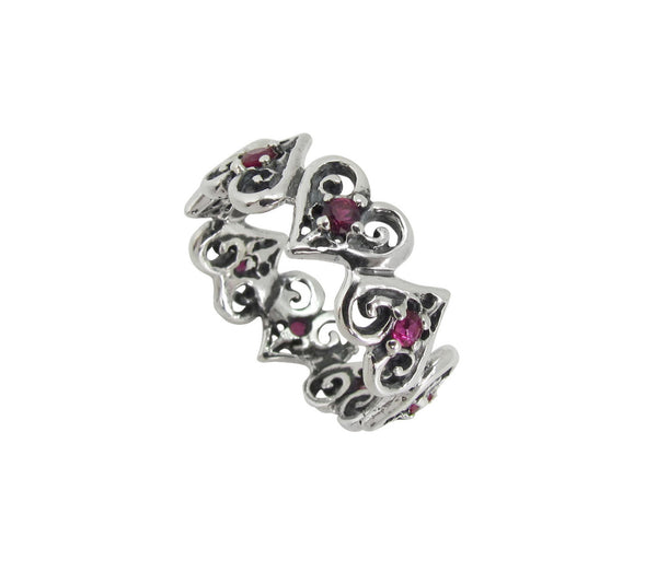 ALTERNATING TINY ALLEGRA HEARTS RING w/ 10 CZS
