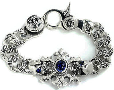 TRIBAL LINK BRACELET w/ SKULLS & AMULET & CENTER ONYX