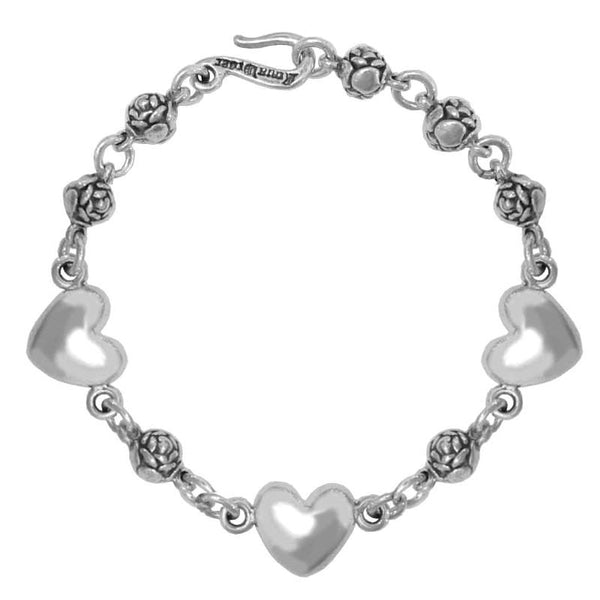 ROSEBEAD BRACELET w/ 3 SMOOTH HEARTS