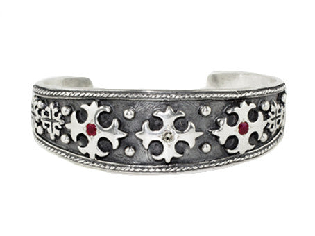 TRIPLE CROSS CUFF w/ DIAMOND CENTER & RUBY OR SAPPHIRE SIDES