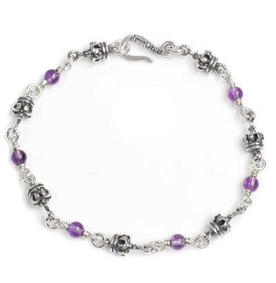 SMALL CROWN BRACELET w/ AMETHYST