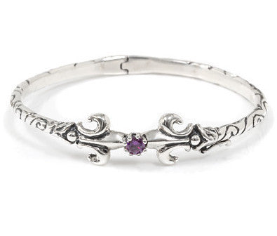 RIBBON CUFF w/ FLEUR DE LIS & CROWN SETTING w/ CZ