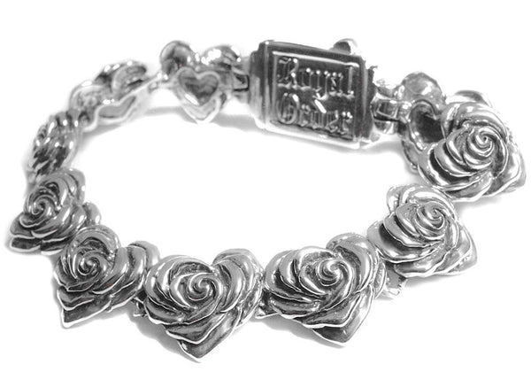 HEART ROSE LINKS BRACELET w/ CROWN BOX