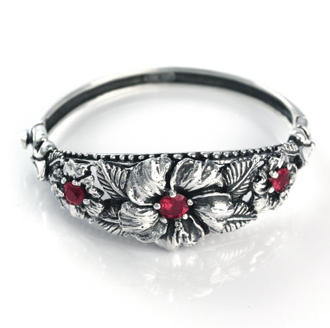 MULTIPLE HIBISCUS BANGLE w/ CZ