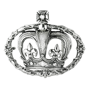 CROWN IN FLEUR DE LIS VINE BELT BUCKLE w/ PAVÈ DIAMOND