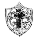 LOUISIANA CROSS SHIELD BELT BUCKLE w/ ONYX