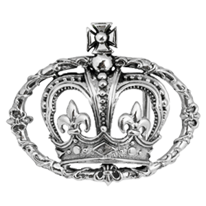 CROWN IN FLEUR DE LIS VINE BELT BUCKLE