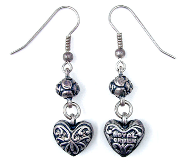 CARVED HEART EARRINGS w/ ROSEBEAD ON HOOK