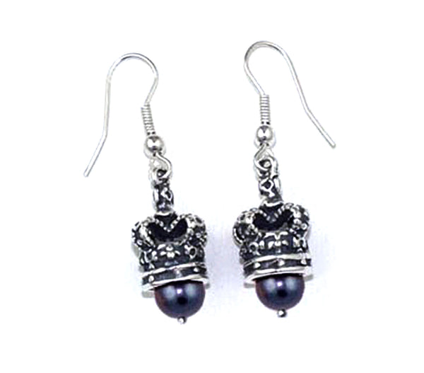 ROYAL CROWN EARRINGS w/ PEARLS