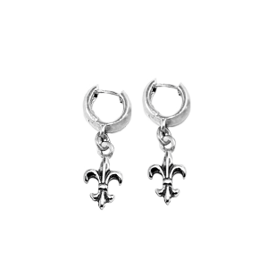 SMALL ROUND EARRINGS w/ FLEUR DE LIS CHARM