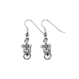 MINI PITBULL EARRINGS w/ RING ON HOOK w/ DIAMOND EYES