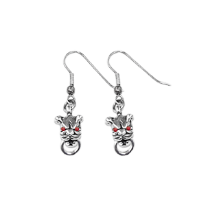 MINI PITBULL EARRINGS w/ RING ON HOOK w/ RUBY EYES