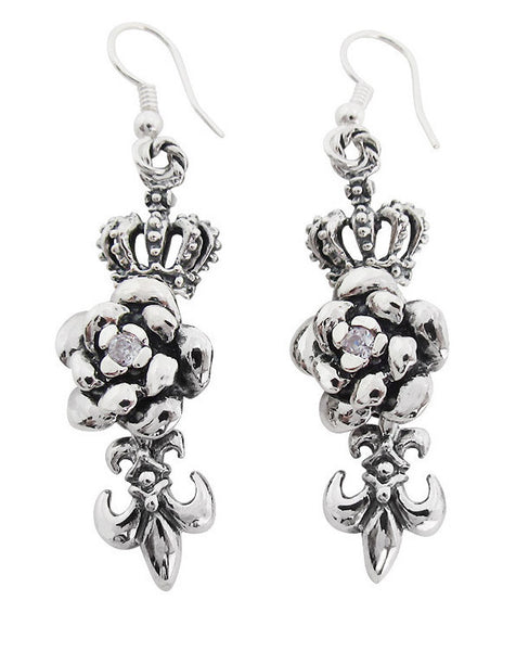 ROSE w/ CROWN EARRINGS & FLEUR DE LIS w/ CZ