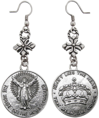 HOUSE CROWN EARRINGS w/ CROSS HOOK