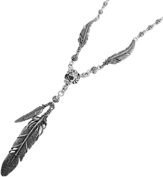 CARVED SKULL & BONES NECKLACE w/ 3 FEATHERS w/ CROWN & FLEUR DE LIS CHAIN