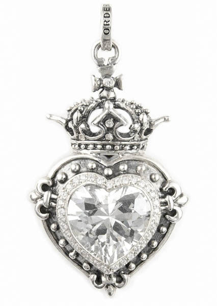 LARGE DEMI GOD HEART PENDANT w/ CZ & PAVÉ CZ