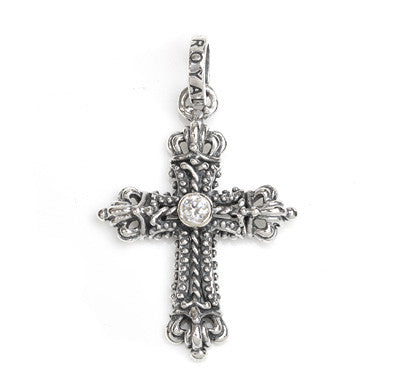 SMALL CORONATION CROSS PENDANT w/ CROWNS & CZ