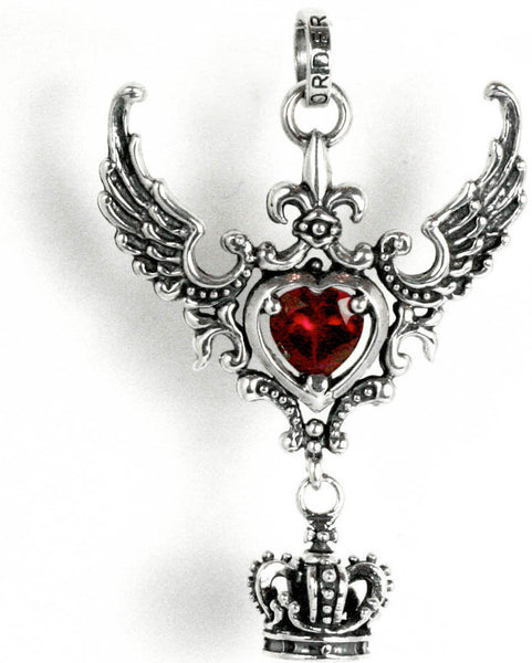 CORONET WINGED HEART PENDANT w/ CZ