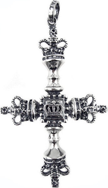 LARGE CROSS PENDANT w/ CROWNS