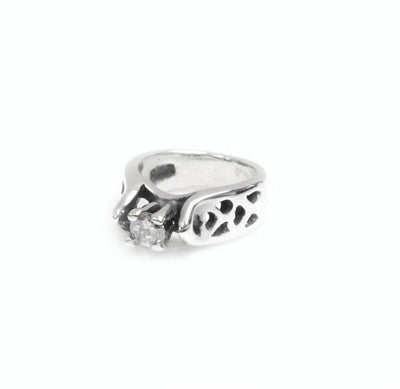 TINY ALLEGRA HEART RING CHARM w/ CZ
