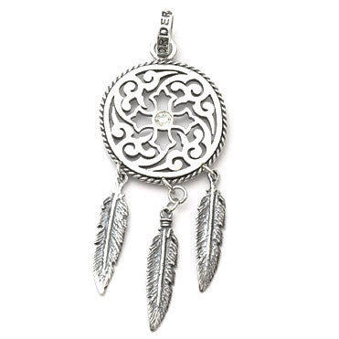 FILAGREE COIN PENDANT w/ CZ & FEATHERS 5, 5 & 7