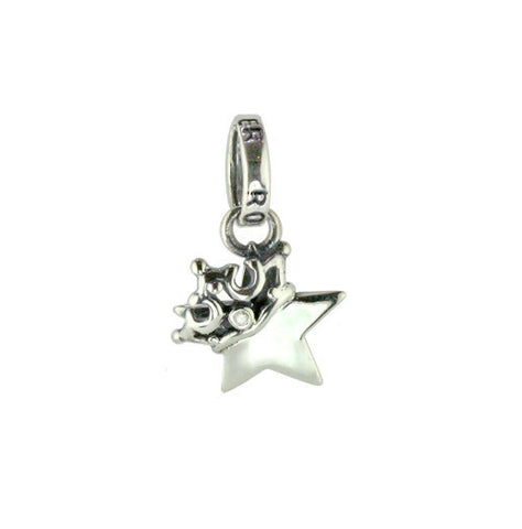 TINY SOLID STAR PENDANT w/ CROWN w/ 1 CZ