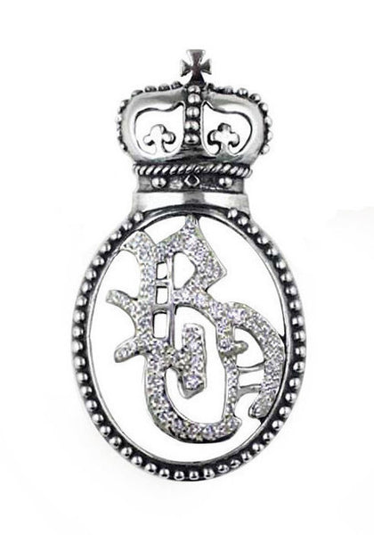 RO MONOGRAM PENDANT w/ PAVÉ DIAMONDS